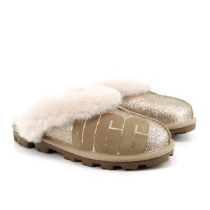 UGG Coquette Gold Sparkle Logo Slippers